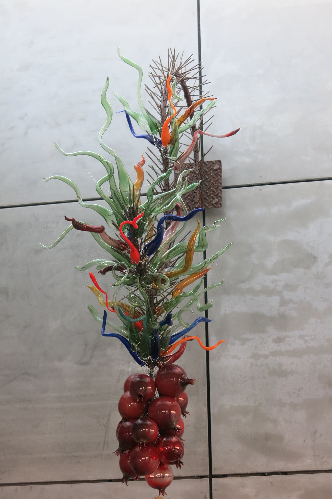 glass chandelier with pomegranates by Israeli glass artist