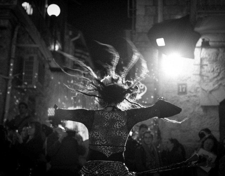 Dancer performs during Shaon Horef Jerusalem winter street festival