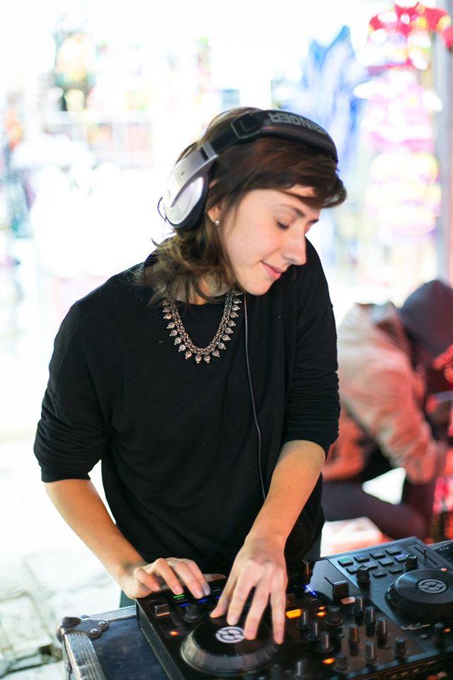 female DJ throws street party at Shaon Horef Jerusalem winter street festival