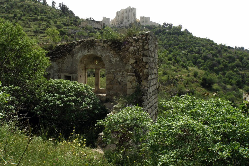 Lifta is a historical site located at the entrance to Jerusalem where rain water collects in a pool