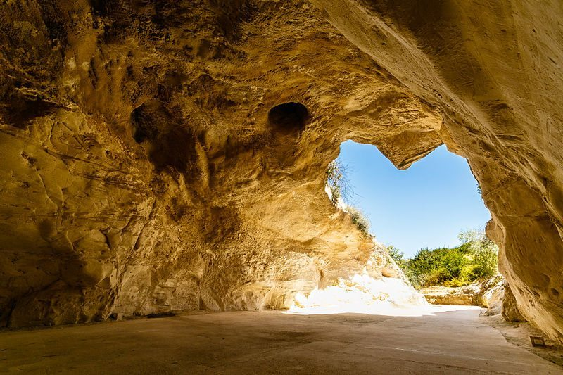 Beit Guvrin national park has ancient Roman ruins and a network of limestone bell-shaped caves